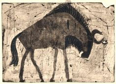 <b>wildebeest </b> kruger, south afrca 24 x 36 cms Poole Native Art, Luigi, Mammals, Printmaking, Design Art, Beast, Moose Art, Illustration Art, Wildlife