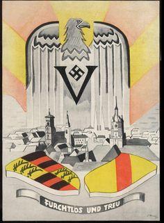 """939-1940 Stuttgart """"FURCHTLOS UND TREU"""", sehr seltene farbige Propagandakarte des Kriegs- WHW-Wehrkreiskommandos"""