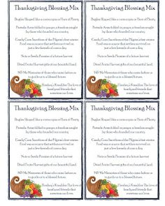Thanksgiving Blessing Mix Gift Tags