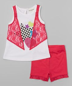 Look at this #zulilyfind! Fuchsia Star Lace Tunic & Shorts - Infant, Toddler & Girls by Buster Brown #zulilyfinds