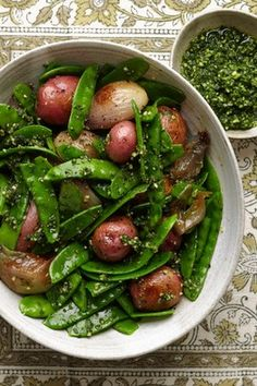 Snow Peas With Yellow Potatoes, Caramelized Shallots and Tarragon Pesto: Roasting shallots brings out their sweetness and silkiness and provides the perfect textural contrast to crisp snow peas. -by Sarah Karnasiewicz, WSJ Side Dish Recipes, Vegetable Recipes, Vegetarian Recipes, Healthy Recipes, Side Dishes, Delicious Recipes, Real Food Recipes, Cooking Recipes, Unique Recipes
