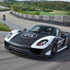 """Photos - Google+   Porsche prototype 918 Syder - """"It is designed as a plug-in hybrid vehicle combining a high-performance combustion engine with cutting-edge electric motors for extraordinary performance: on the one hand, the dynamics of a racing machine boasting more than 770 hp, on the other hand, fuel consumption in the region of three litres per 100 kilometres."""""""