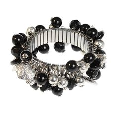 Black Chunky Bead Bracelet Beaded Jewelry, Beaded Bracelets, Jewellery, Chunky Beads, Unusual Jewelry, Diy, Crafts, Black, Jewels
