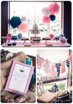 I wouldn't use that invitation. Everything that is navy blue would need to be red. Instead of the sail boat on top of the cake, I want a starfish or sea shells like the ones on the other invitation I pinned.