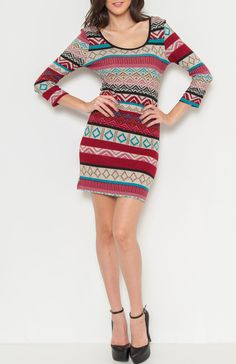Round neck 3/4 sleeve geometric tribal print bodycon dress. Wear a cute scarf and some loafers for a fall look. #wholesale dresses #fahion wholesale, #printed dress, #mini dress, #Boutique #Wholesale Boutique, #Boho, #New Wholesale Trends, #FallTrends