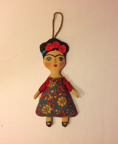Muñecas artesanales arte muñeca Frida tela por NatashaArtDolls
