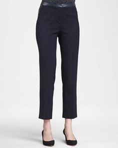 Christy Leather-Waist Pants by Tory Burch at Neiman Marcus.