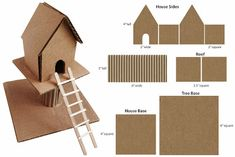 Art Projects for Kids: Cardboard Treehouse. This was a bit hit with my kids last week. A diagram with measurements is included.