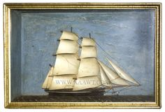 Ship Diorama, Lemon Gold Frame