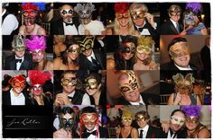 Feathered and Venetian Mardi Gras Masks are a great wedding favor for the guest at this Wedding!