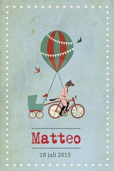 Geboortekaartje Matteo - meisje of jongen - Pimpelpluis - https://www.facebook.com/pages/Pimpelpluis/188675421305550?ref=hl (# retro - vintage - circus - dieren - zebra - ballon - luchtballon - vogel - origineel)