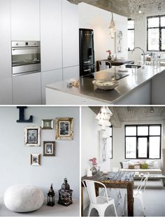 white kitchen, distressed wood table, white chairs