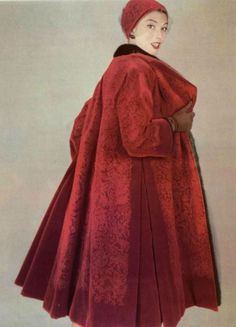 1955 - Christian DIor coat, mink & velvet, pity about the mink but wow what a coat.