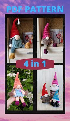 4 CROCHET PATTERN - 2 Gnomes Gnome-girl and big gnome amigurumi Simple instructions Plush handmade items Crochet Animal Patterns, Crochet Patterns Amigurumi, Crochet Dolls, Crocheted Toys, Knitting Patterns, Handmade Toys, Handmade Ideas, Etsy Handmade, Christmas Preparation
