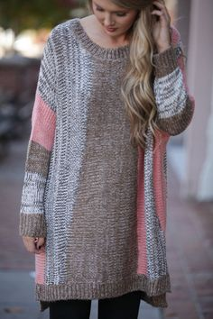 Oversized grey, brown, and pink knitted sweater! Oh So Cozy Pink Sweater