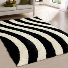 """AllStar Rugs Two Tone Salt Pepper Shaggy Area Rug with 3d Curvy Lines Design, Hand Tufted. Size: 7'6"""" x 10'5"""""""