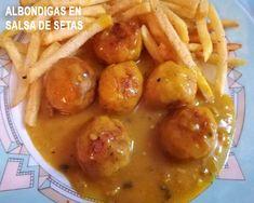 albóndigas de pollo en salsa de champiñones