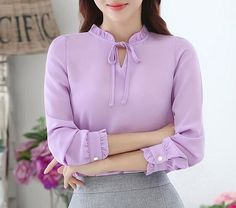 Women Shirts Blouses Long Sleeve Stand Collar Elegant Ladies Chiffon Blouse Tops Office Work Wear