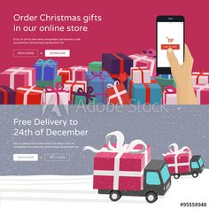 Online shopping website banners  -  Hand holding phone ordering christmas gifts…