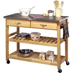 Prepare Delicious Desserts And Organize Cookware With This Stainless Steel Topped  Kitchen Cart, Showcasing 2 Utility Drawers And 2 Bottom Shelves.