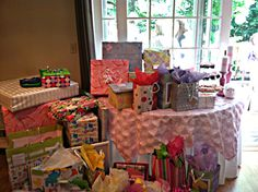 Gift Table. The Overlay was dyed pink so all the linens weren't white.