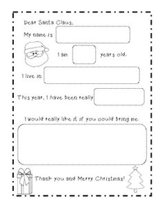 A Letter To Santa, super cute 4-page freebie
