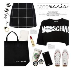 """logomania"" by jesuisunlapin ❤ liked on Polyvore featuring Converse, Givenchy, Moschino, Prada, Chanel, Gucci, Yves Saint Laurent and Sam Edelman"