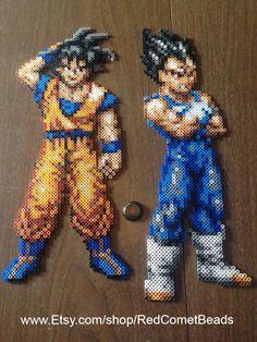 Goku and Vegeta perler bead sprites by HaleysRedComet on deviantART