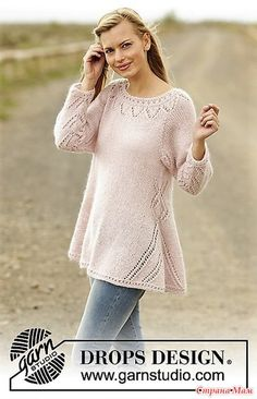 Pastel Elegance jumper with lace pattern and raglan by DROPS Design Free Knitti… - Stricken Anleitungen Drops Patterns, Lace Patterns, Crochet Patterns, Drops Design, Sweater Knitting Patterns, Lace Knitting, Crochet Woman, Knit Crochet, Tunisian Crochet