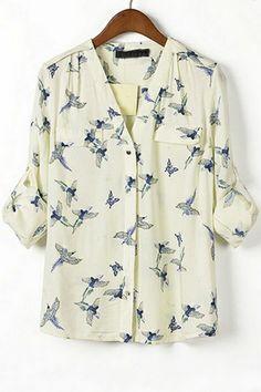 Bird V Neck Button-up Shirt OASAP.com