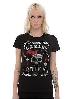 <p>Fitted black tee from DC Comics with a spirit board inspired Harley Quinn logo design on front.</p>  <ul> <li>100% cotton</li> <li>Wash cold; dry low</li> <li>Imported</li> <li>Listed in junior sizes</li> </ul>
