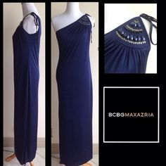 Flash Sale ! BCBG MaxAzria Jeweled Column Dress Beautiful Navy Asymmetrical BCBGMaxAzrie Column dress. Ties over one shoulder with jeweled detailing. One side has a side slit at the bottom. This can be worn casually with some sandals or with some heels can be perfect for a dressy occasion or night on the town. Extremely comfortable, great to pack for a summer trip. Effortless style! Bundle and save$$. BCBGMaxAzria Dresses