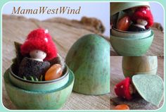 Toadstool Easter Egg Playset Waldorf Inspired toy by MamaWestWind