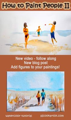 How to paint people watercolor tutorial, painting people, fun to do these. Watercolor Painting Techniques, Watercolor Video, Watercolor Water, Watercolour Tutorials, Painting Lessons, Watercolor Portraits, Watercolor Paintings, Watercolors, Abstract Watercolor Tutorial