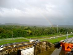 Rainbow in the Panama Canal. #PanamaCanal #Cruise