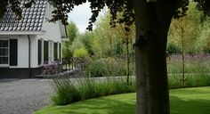 Rodenburg Tuinen: landelijke tuin bij modern landhuis. De tuin past perfect in groene omgeving met deze landelijke inrichting van de tuin. Echter ook passend bij de uitstraling van het moderne landhuis.