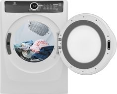 "Electrolux EFME417SIW 27"" LuxCare Series Electric Dryer with 8 cu. ft. Capacity, 7 Dry Cycles, 4 Temperature Settings, Steam Cycle, Energy Star Certified, Perfect Steam Wrinkle Release, Fast Dry, Delay Start in Island White"