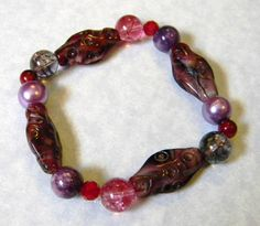 Shades of Pink and Purple Glass and Gemstone Stretch Bracelet