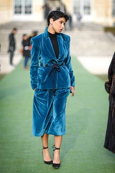 A guest wears a blue suit and attends the Christian Dior Haute Couture Spring Summer 2017 show as part of Paris Fashion Week at the Rodin museum on...