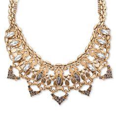 #PalmBeach Goldtone Marquise-cut Crystal Geometric Statement Chain Accent Bib #Necklace #Bold Fashion