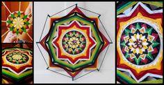 Mandala con centro de madera pintado con acrilicos
