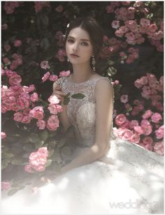 Praise Wedding: This garden-inspired gown from J Sposa featuring exquisite jewel embellishments has captivated . Designer Wedding Dresses, Wedding Gowns, Blue Wedding, Dream Wedding, Girls With Flowers, Beautiful Dresses, Marie, Queens, Fashion Dresses