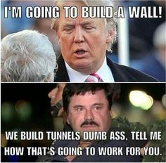 Trump: I'm going to build a wall! We build tunnels dumb ass, tell me how that's going to work for you? Political Memes, Political Cartoons, Funny Politics, Funny Quotes, Funny Memes, Jokes, Funny Shit, Funny Stuff, Stupid Stuff