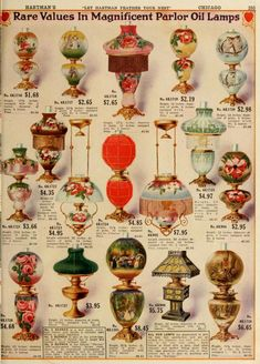 Beautiful Color 1916 Home Catalog Would Have Been a Housewife's Dream – Dusty Old Thing Victorian Lighting, Victorian Lamps, Antique Lamps, Antique Lighting, Vintage Lamps, Vintage Decor, Chandeliers, I Love Lamp, Ancient Architecture