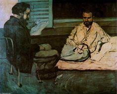 Acheter Tableau 'Paul Alexis lecture d un manuscrit à Emile Zola' de Paul Cezanne - Achat d'une reproduction sur toile peinte à la main , Reproduction peinture, copie de tableau, reproduction d'oeuvres d'art sur toile