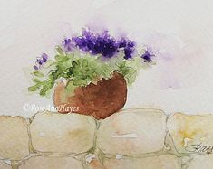 Original Watercolor Painting Eggplant Vegetable by RoseAnnHayes