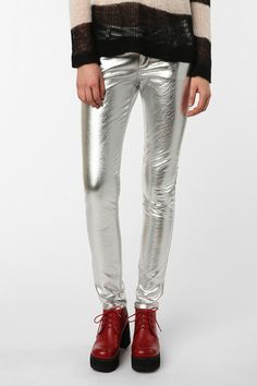 Tripp NYC Silver Vinyl Pant Online Only