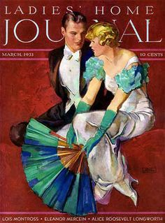 1933 Ladies' Home Journal showing evening ensemble with gloves. The evening glove returns in a simple way, reaching the mid-forearm to above the elbow. Gloves are simple and unadorned, made of cotton, silk or kid (leather) for evening. Colors are usually white, ivory or black, but can match the dress.