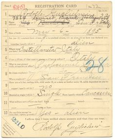 Valentino Draft registration card (front)for WWI--source, U.S. National Archives