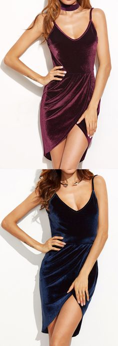 Backless Ruched Velvet Wrap Cami Dress
